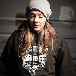 Joanne Calderwood wearing a black Sandee Tattoo hoody