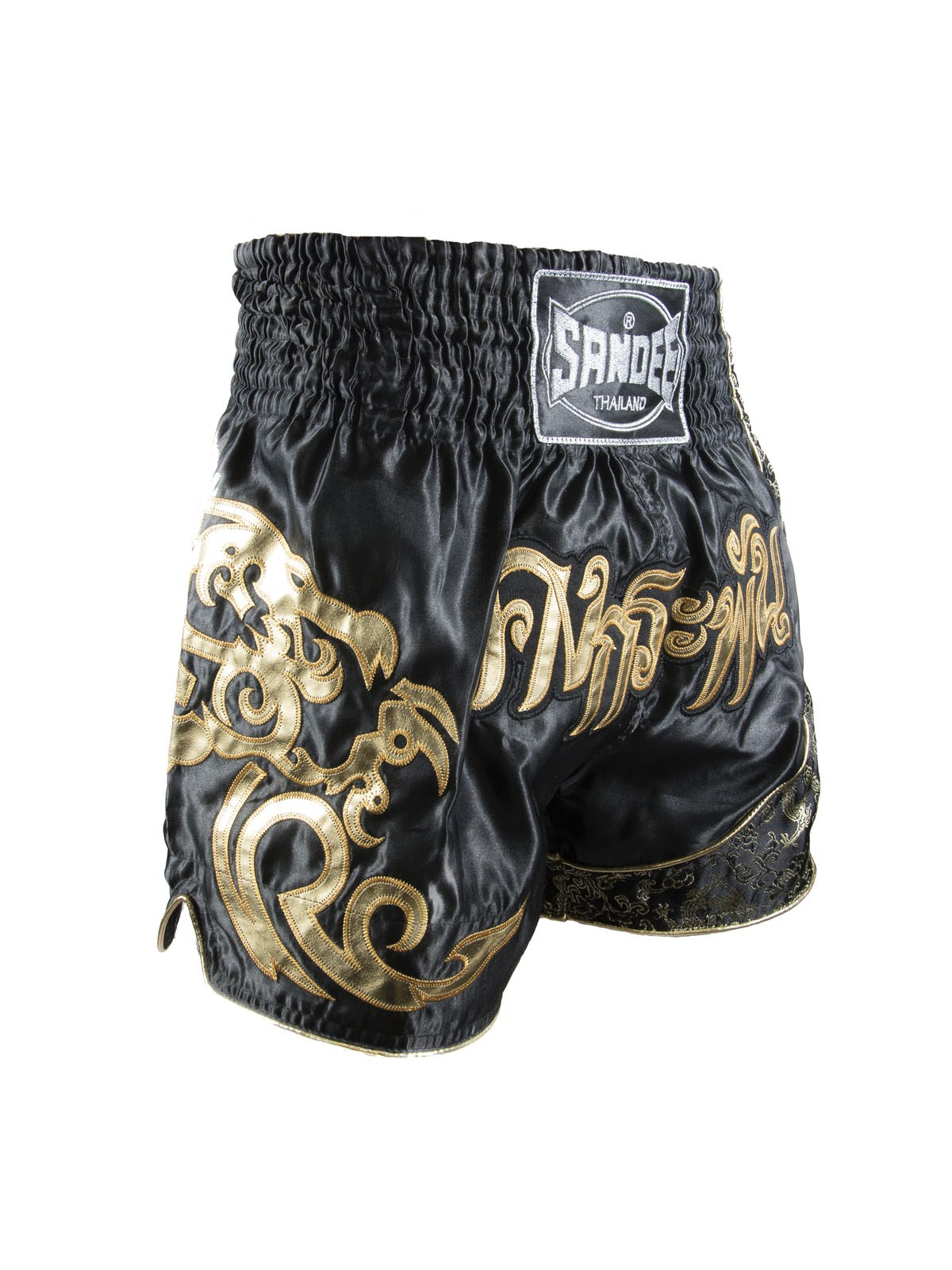 Sandee Unbreakable Black Gold Muay Thai Kick Boxing Shorts