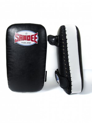 Sandee Small Extra Thick Black & White Synthetic Leather Flat Thai Kick Pads