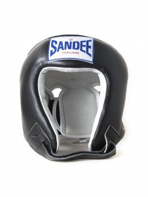 Sandee Open Face Black & White Leather Head Guard