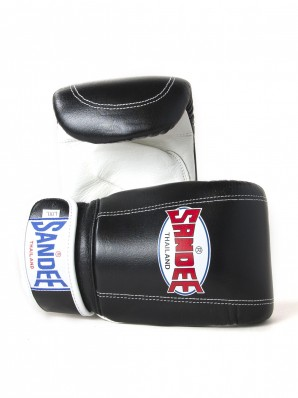 Sandee Velcro Black & White Leather Bag Glove