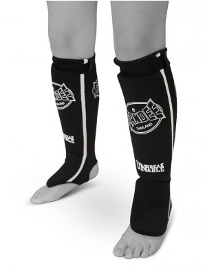 Sandee Black & White Cotton Slip-on Competition Shinguard