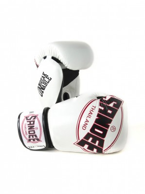 Sandee Cool-Tec Velcro White, Black & Red Leather Boxing Glove