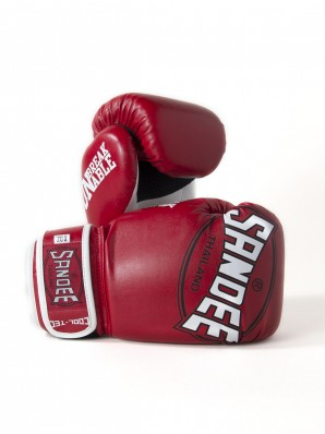 Sandee Cool-Tec Velcro Red, White & Black Synthetic Leather Boxing Glove