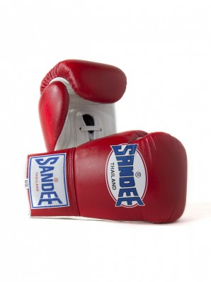 Sandee Lace Up Pro Fight Red & White Leather Boxing Glove