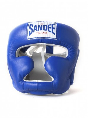 Sandee Closed Face Blue & White Leather Head Guard