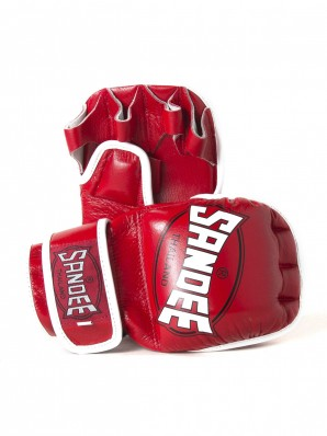 Sandee Red & White Leather MMA Sparring Glove