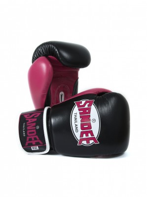 Sandee Neon Velcro Black & Pink Leather Boxing Glove