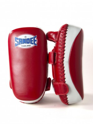 Sandee Red & White Curved Thai Leather Kick Pads