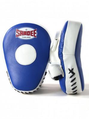 Sandee Leather Blue & White Curved Focus Mitt