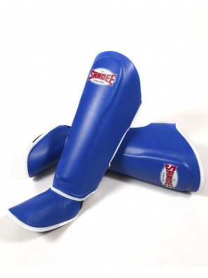 Sandee Authentic Blue & White Leather Boot Shinguards