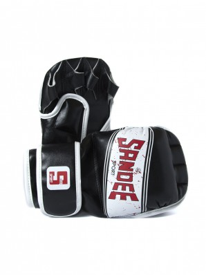 Sandee Sport Black & White Synthetic Leather MMA Sparring Glove