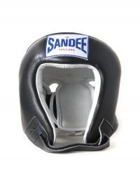 Sandee Open Face Black & White Leather Head Guard
