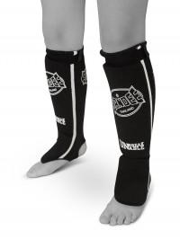 Sandee Black & White Cotton Slip-on Competition Shinguard