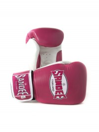 Sandee Fluro Velcro Pink & White Leather Boxing Glove