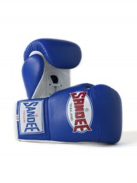 Sandee Lace Up Pro Fight Blue & White Leather Boxing Glove