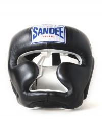 Sandee Closed Face Black & White Leather Head Guard