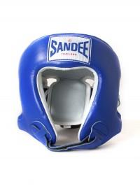 Sandee Open Face Blue & White Leather Head Guard