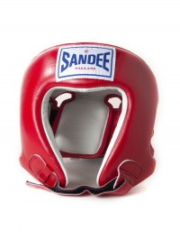 Sandee Open Face Red & White Leather Head Guard