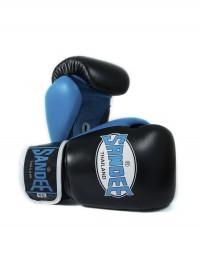 Sandee Neon Velcro Black & Blue Leather Boxing Glove