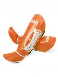Sandee Fluro Orange & White Leather Boot Shinguard