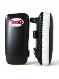 Sandee Large Extra Thick Black & White Flat Thai Kick Pads