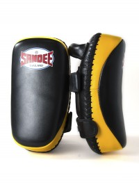Sandee Black & Yellow Curved Thai Leather Kick Pads