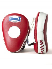 Sandee Leather Red & White Curved Focus Mitt