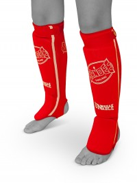 Sandee Red & White Cotton Slip-on Competition Shinguard