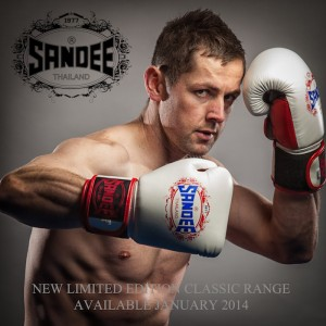 Daitan Jackson with Sandee Classic Ltd edition gloves availabe from sandeeboxing.com
