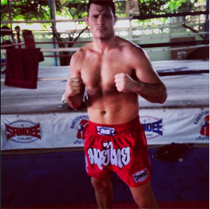 Bisping looking good after heavy pad session Keatkhamton Gym