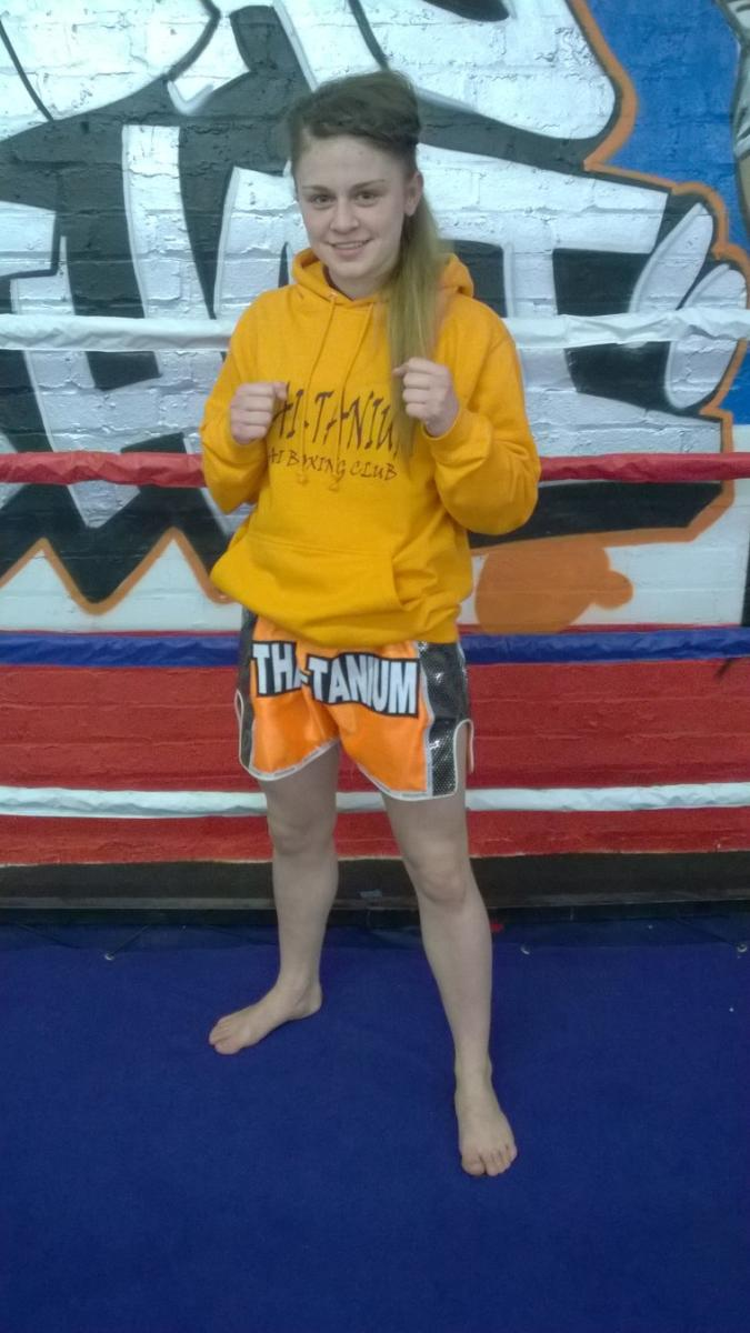 Molly Barnwell 16 years old fighting out of Thai Tanium Thai Boxing Club Leicester