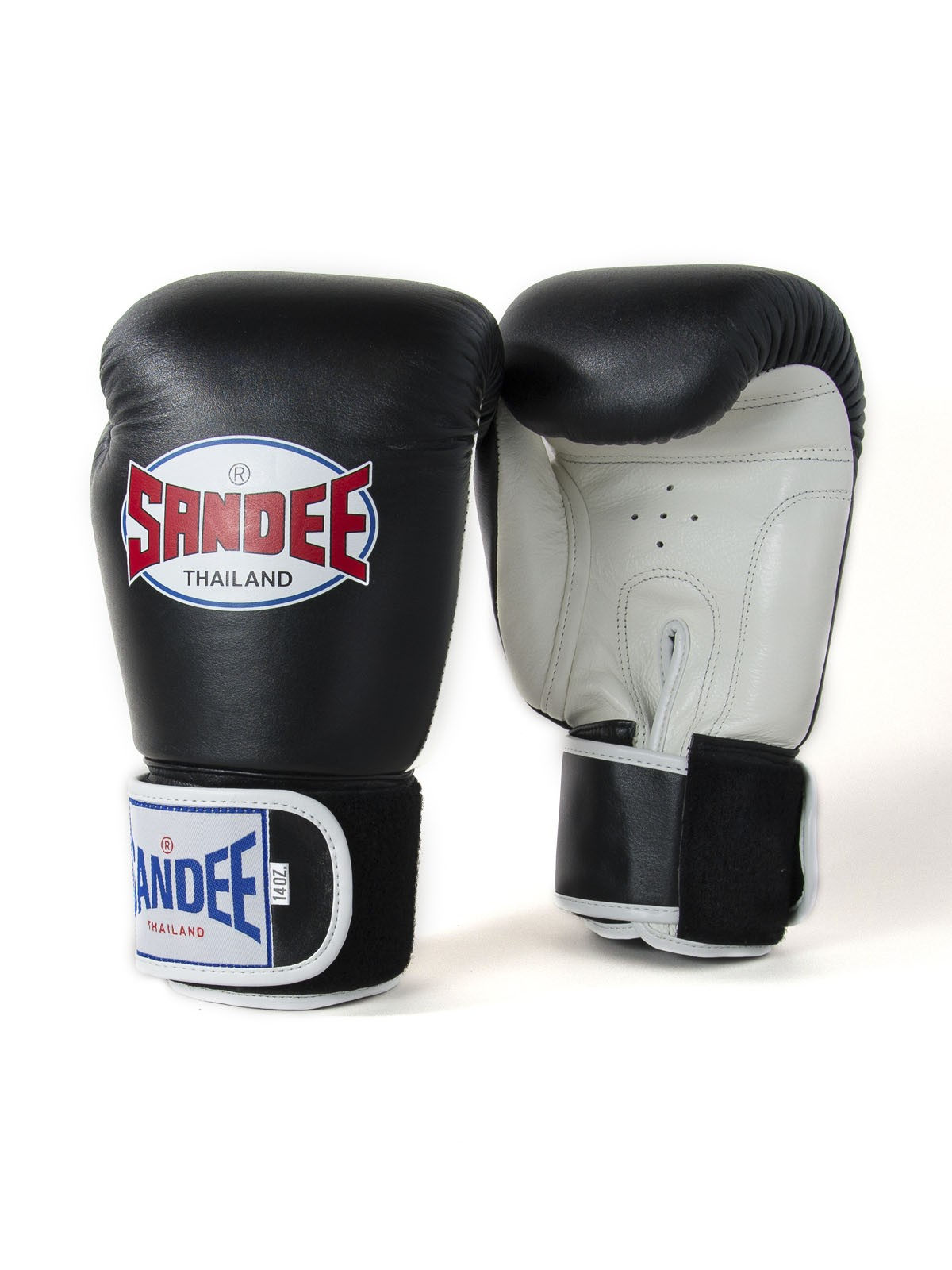 Black//White Thai Boxing Gloves Sandee Authentic Leather Boxing Gloves