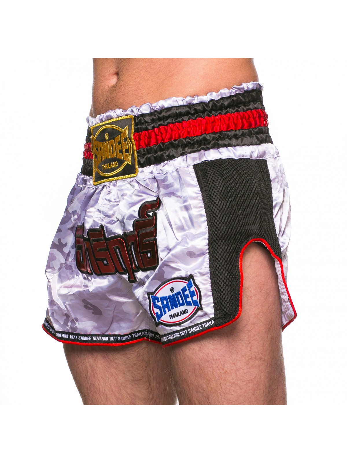 Sandee Supernatural Power Muay Thai Boxing Shorts White//Red