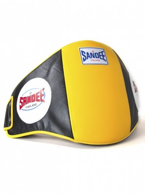 Sandee Velcro Black & Yellow Leather Belly Pad