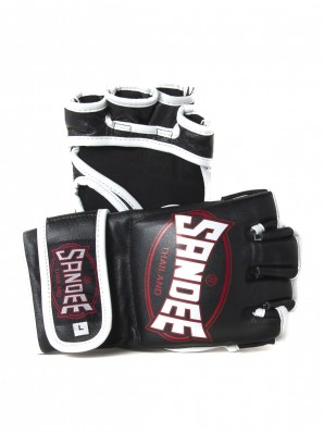 Sandee Black & White Leather MMA Fight Glove