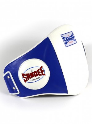 Sandee Velcro Blue & White Leather Belly Pad