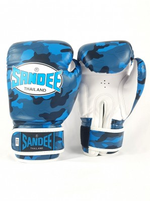 Sandee Authentic Velcro Camo Blue & White Synthetic Leather Boxing Glove