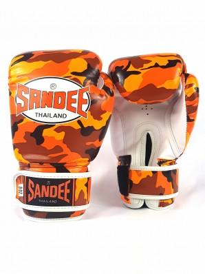Sandee Authentic Velcro Camo Orange & White Synthetic Leather Boxing Glove
