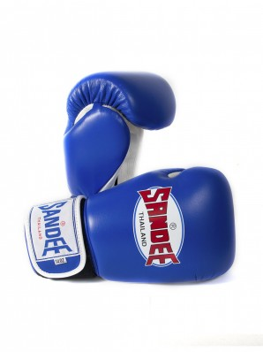 Sandee Authentic Velcro Blue & White Leather Boxing Glove