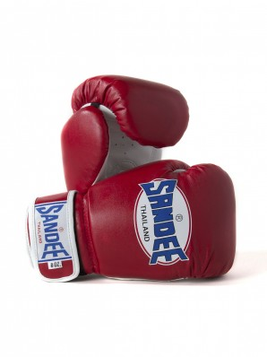 Sandee Authentic Velcro Red & White Synthetic Leather Boxing Glove