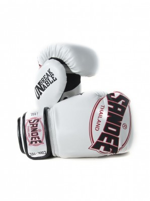 Sandee Cool-Tec Velcro White, Black & Red Synthetic Leather Boxing Glove