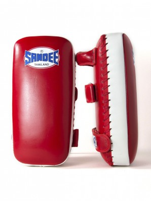 Sandee Large Extra Thick Red & White Flat Thai Kick Pads