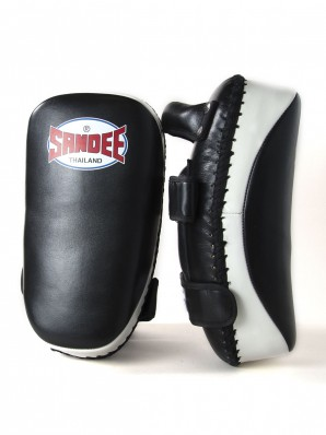 Sandee Black & White Curved Thai Leather Kick Pads