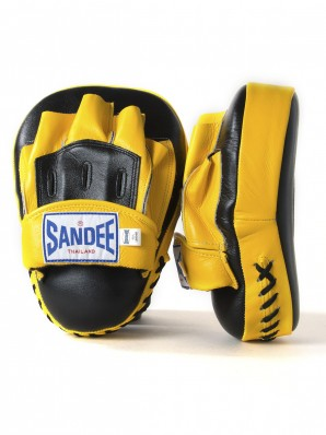 Sandee Leather Black & Yellow Curved Focus Mitt