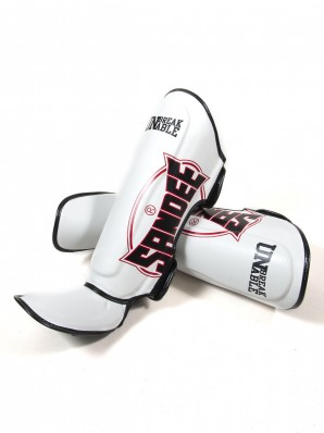 Sandee Cool-Tec White, Black & Red Leather Boot Shinguard