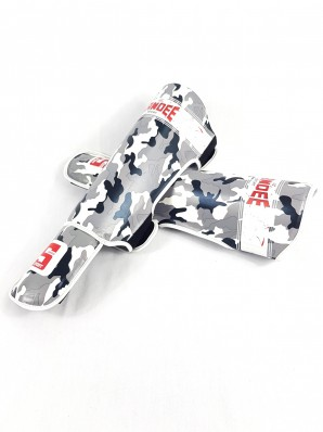 Sandee Sport Velcro Camo Grey & White Synthetic Leather Boot Shinguard