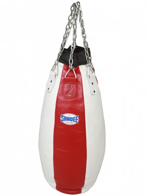Sandee Red & White Full Leather Teardrop Punch Bag