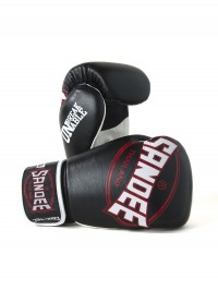 Sandee Cool-Tec Velcro Black, White & Red Leather Boxing Glove