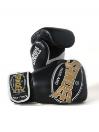 Sandee Cool-Tec Velcro Black, Gold & White Leather Boxing Glove